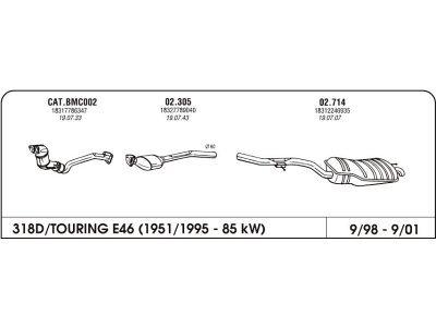 Auspuff BMW 3 E46 1.8 98-05 drugi kat.