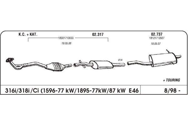 Auspuff BMW 3 E46 1.8 98-mittlere