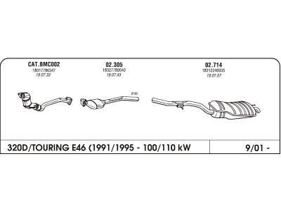 Auspuff BMW 3 E46 2.0 98-05 Hinterer
