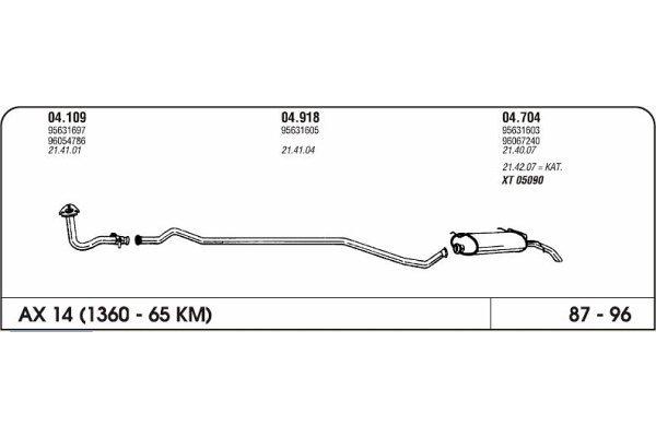 Auspuff Citroen Ax 1.1 87-96 Hinterer