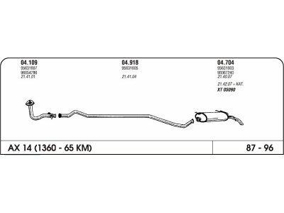 Auspuff Citroen Ax 1.4 87-96 Hinterer