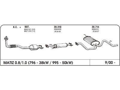 Auspuff Daewoo Matiz 0.8 00- Vorderer