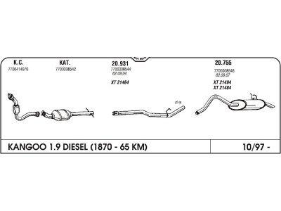 Auspuff Renault Clio II 1.5 dci 01- Koll. m. bew. Ro.