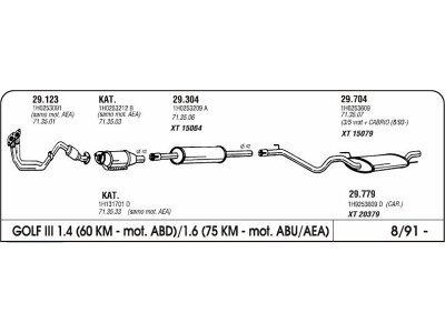 Auspuff Volkswagen Golf III 1.4/1,6 91- Kollektor Rohr