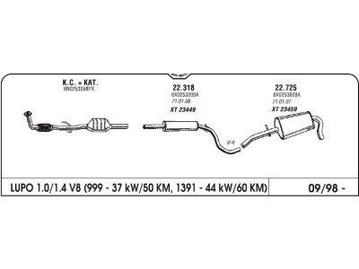 Auspuff Volkswagen Lupo 1.0/1.4 97- Hinterer