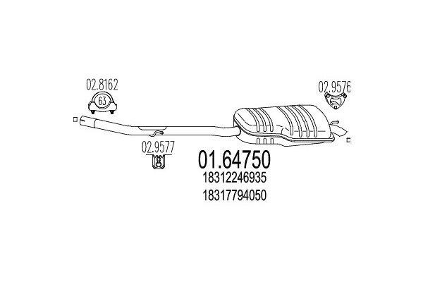 Auspuh 01.64750 BMW Serije 3 (E46) 98-05, zadnji lonac