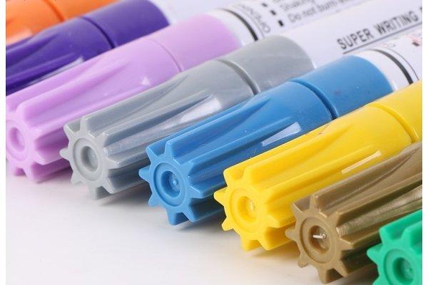 Barvni markerji za pnevmatike, stekla, plastiko, les ter ostale površine, 12 kosov