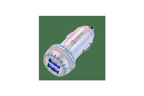 Brzi punjač za upaljač za cigarete Eonline 3.1 A, USB adapter, 2 priključka, bela boja