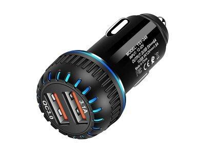 Brzi punjač za upaljač za cigarete Eonline 3.1 A, USB adapter, 2 priključka, crna boja