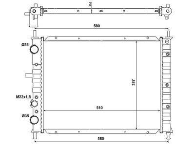 Hladilnik vode 301808-3 - Fiat Bravo 1.9TD 95-01, brez klime