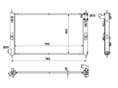 Hladilnik vode 523408-1 - Mitsubishi Lancer 07-, ročni