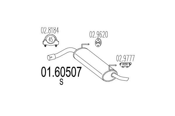 Ispuh 01.60507 Fiat Panda 03-, zadnji lonac