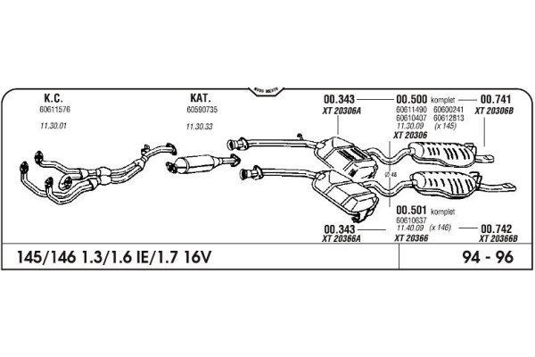 Ispuh Alfa 146 1.3/1.6/1.7 16V kat 94- komplet