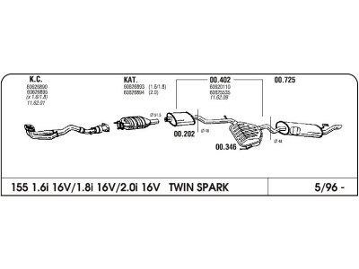Ispuh Alfa 155 1.6/1.8/2.0 16V 96-prednji i srednji