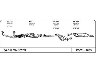 Ispuh Alfa 164 3.0i V6 90- srednji