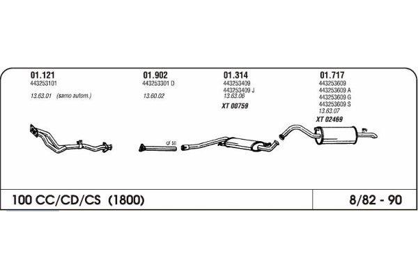 Ispuh Audi 100 1.8 82-90 srednji