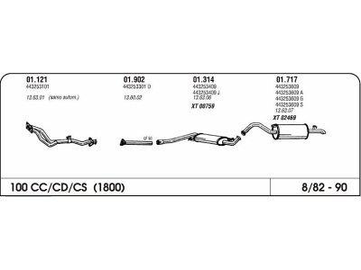 Ispuh Audi 100 1.8 82-90 zadnji