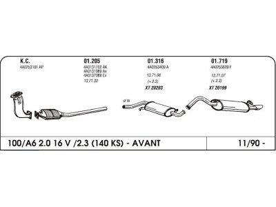 Ispuh Audi 100/A6 2.0/2.3 90- srednji