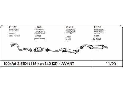 Ispuh Audi 100/A6 2.5 90-zadnji