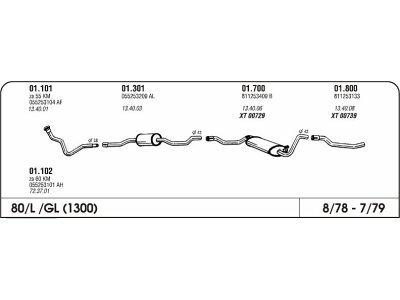 Ispuh Audi 80 1.3 78.86 stražnja ispušna cijev
