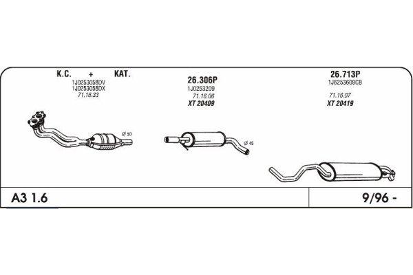 Ispuh Audi A3 1.6 96-srednji