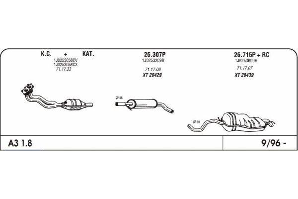 Ispuh Audi A3 1.8 96-srednji