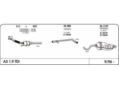Ispuh Audi A3 1.9 96-srednja cijev