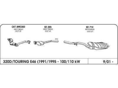 Ispuh BMW 3 E46 2.0 98-05 zadnji
