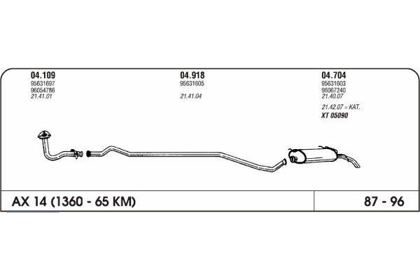 Ispuh Citroen Ax 1.1 87-96 zadnji