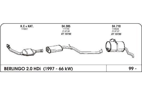 Ispuh Citroen Berlingo 2.0 99-srednji