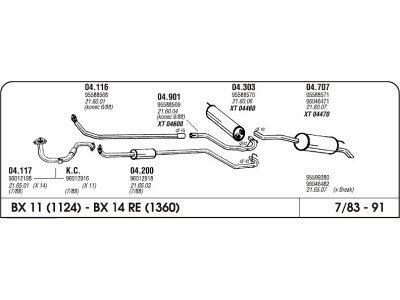 Ispuh Citroen BX 83-92 sred. cijev