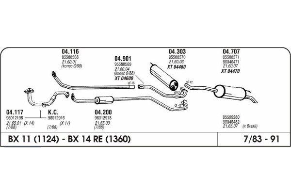 Ispuh Citroen BX 83-92 srednji