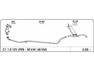 Ispuh Citroen C1 1.0 05-zadnji