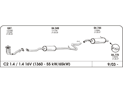 Ispuh Citroen C2 1.4 03-zadnji