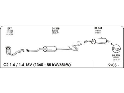 Ispuh Citroen C3 1.4 02- srednji