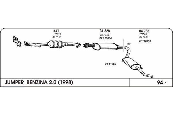 Ispuh Citroen Jumper 2.0/1.9/2.5 94- zadnji