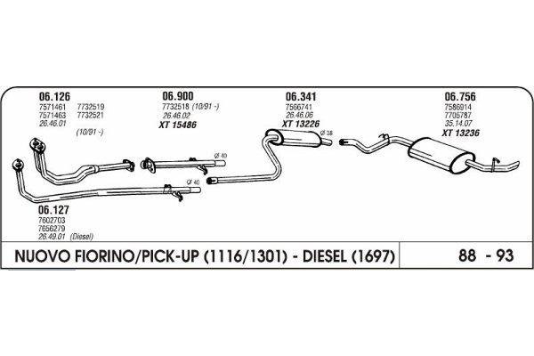 Ispuh Fiat Fiorino 1.1/1.3/1.5 88-93 zadnji