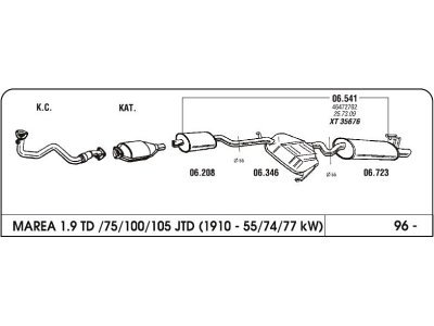 Ispuh Fiat Marea 1.9/2.4 96- komplet