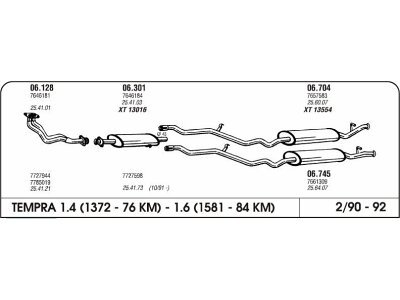 Ispuh Fiat Tempra 1.4/1.6 90-92 zadnji