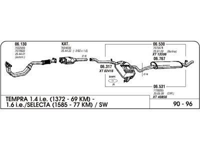 Ispuh Fiat Tempra 1.4/2.0 90-96 komplet