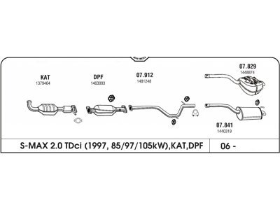 Ispuh Ford Galaxy/S-Max/Mondeo 06- stražnji