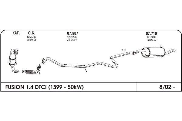 Ispuh Ford/Mazda Fusion/Fiesta/2 03- cijev