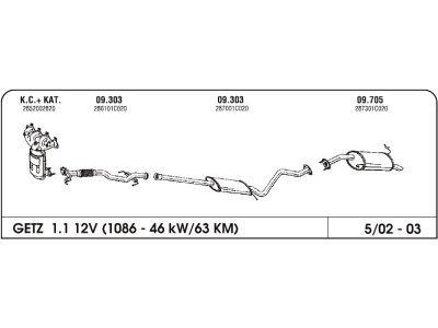 Ispuh Hyundai Getz 02-03 stražnji