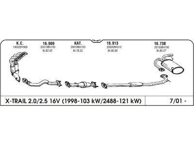 Ispuh Nissan X-Trail 2.0/2.5i 2.2 DCI 01- zadnji