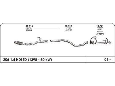 Ispuh Peugeot 206 1.4 HDI 01- sred. cijev