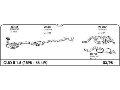 Ispuh Renault Clio II 1.6 98- srednji