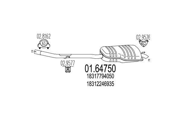 Ispušna cijev BMW Serije 3 98-06 1.8 / 2.0,  zadnji lonac