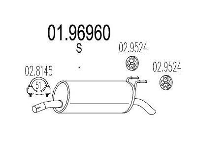 Ispušna cijev Fiat Multipla 99-10 1.6 16V, zadnji lonac