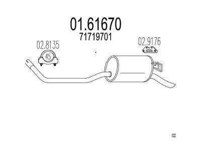 Ispušna cijev Lancia Y 96-03 1.2 , zadnji lonac