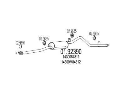 Ispušna cijev Suzuki Alto 86-88 0.8, zadnji lonac